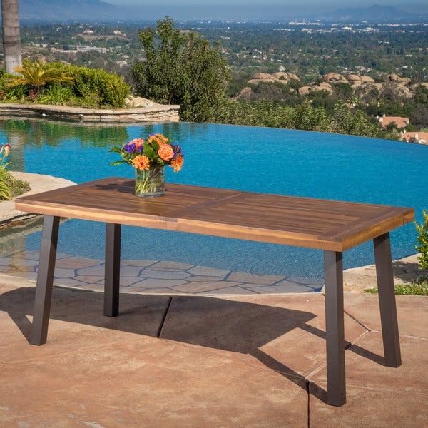Shop Sparta Acacia Wood Rectangle Dining Table By Christopher Knight - Outdoor wood rectangular dining table