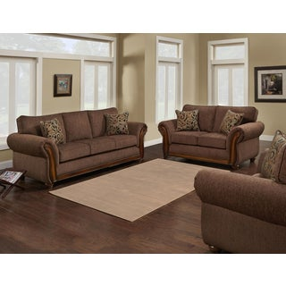 Sofa Trendz Brown/ Beige Microfiber Wood Sofa and Loveseat (Set of 2)