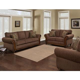 Sota Trendz Brown/Cream Microfiber, Wood Sofa and Loveseat (Set of 2)