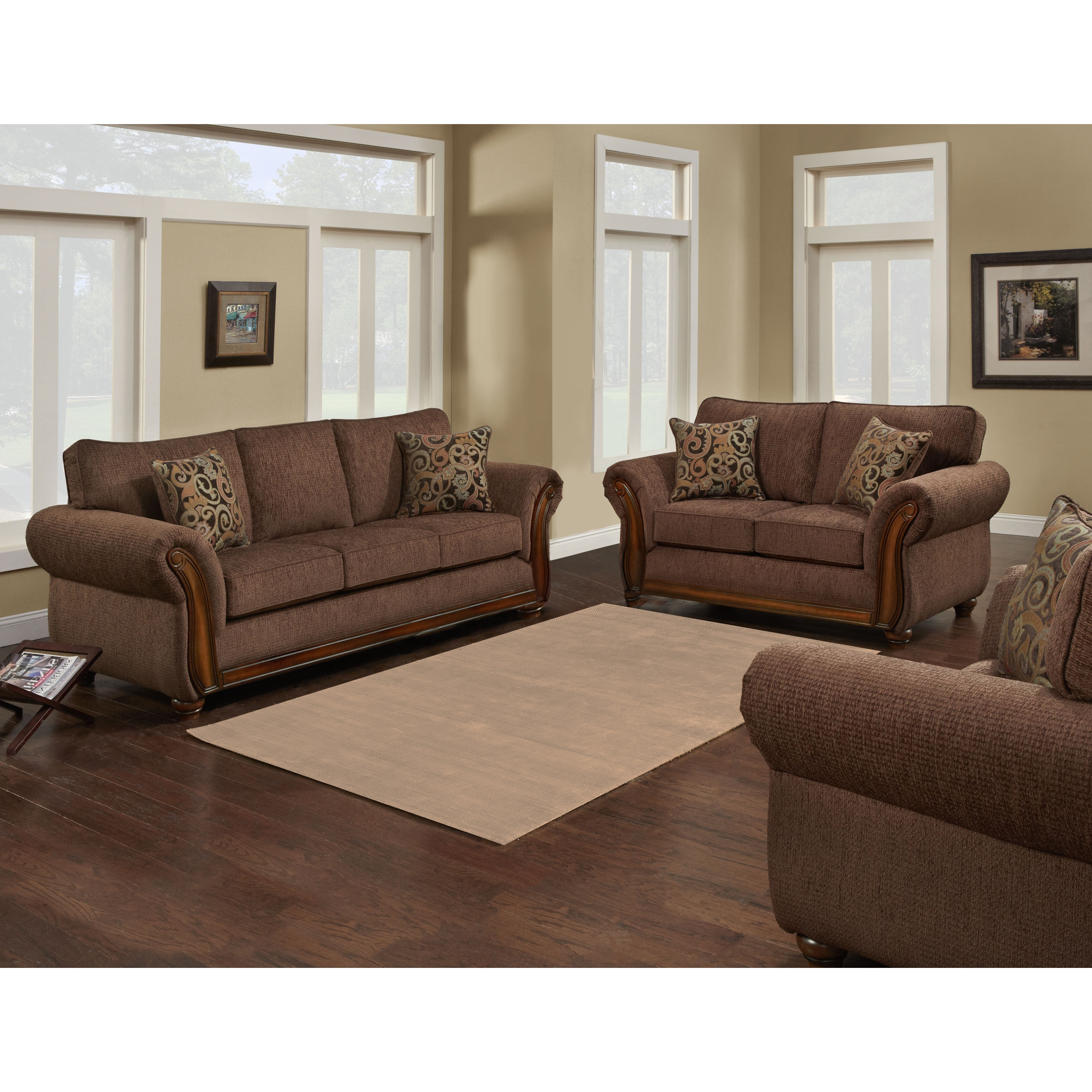 feet fabric traditional chpgn champagne carved cognac wood loveseat ma finish