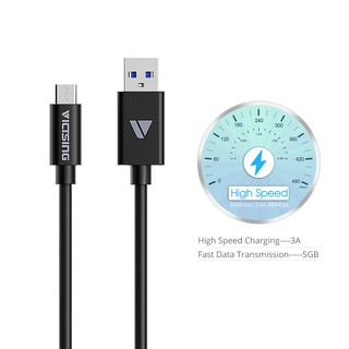USB3.1 Type-C to Standard USB 3.0 Black Charging Cable