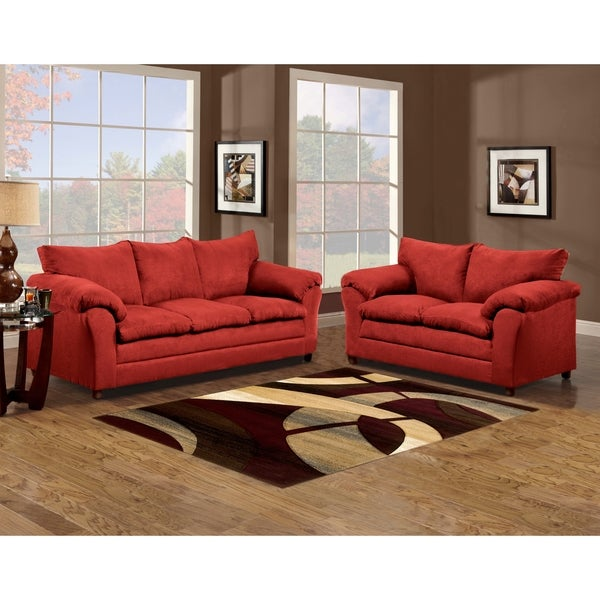 Sofa Trendz Brent Red Microfiber Sofa And Loveseat Set Of