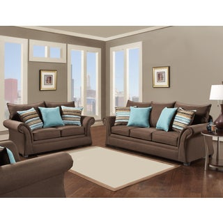 SOFA TRENDZ Bruno Cocoa Sofa and Loveseat Set