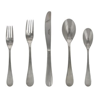 French Home Lebrun France Silver Stainless Steel 20-piece Ripple Design Cutlery Set (Service for 4)