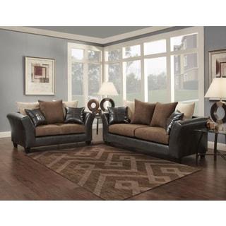 Soft Trendz Chocolate/Grey Microfiber/Faux-Leather Sofa and Loveseat Set