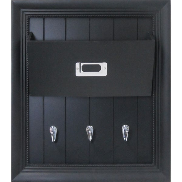 Black Wood Multiple Pockets, Key Hooks, Pocket Letter Holder Wall Organization Board