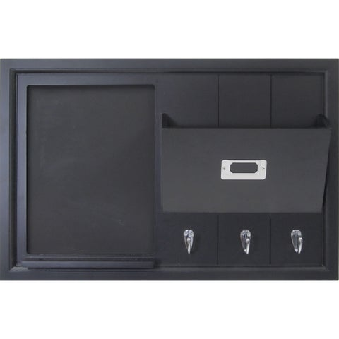 Black Wood Wall Organization Pocket Board With Chalkboard and Key Hooks