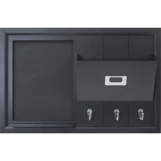 Black Wood Wall Organization Pocket Board With Chalkboard and Key Hooks|https://ak1.ostkcdn.com/images/products/11964467/P18849350.jpg?impolicy=medium