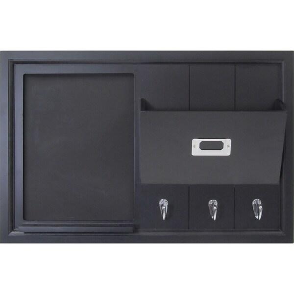 Black Wood Wall Organization Pocket Board With Chalkboard and Key Hooks