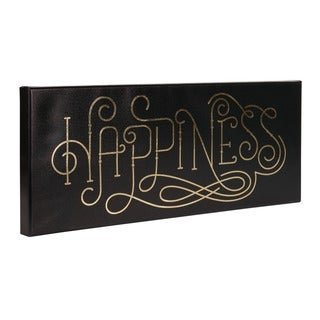 Happiness Curly Script Gold Foil on Black Canvas Art