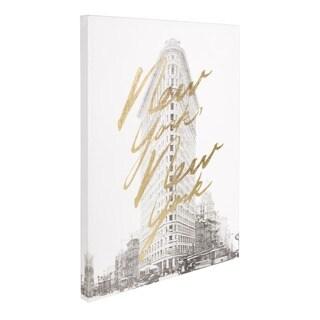 'Gilded New York' Gold Foil on Black and White Canvas Artwork