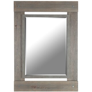 Hobbitholeco. 30x43 Grey Wash Beveled Mirror (Inner mirror 20X28)