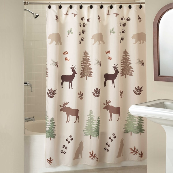 Pine Lodge Shower Curtain and Hooks Set or Separates