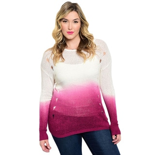 Shop The Trends Women's Plus Size Gradient Long Sleeve Cutout Sweater