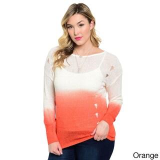 Shop The Trends Women's Plus Size Gradient Long Sleeve Cutout Sweater