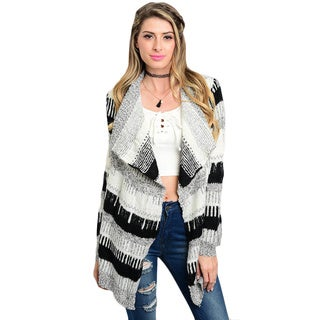 Shop the Trends Women's Monochrome Long Sleeve Waterfall Front Cardigan