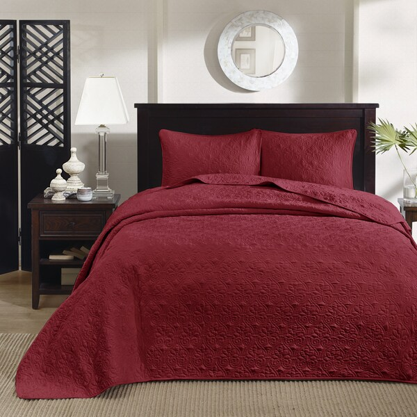 Madison Park Mansfield Red 3-piece Bedspread Set