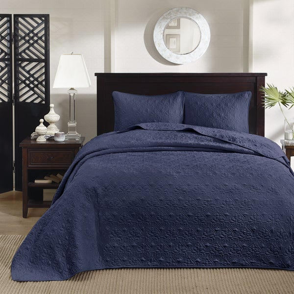 Shop Madison Park Mansfield Navy 3-piece Bedspread Set
