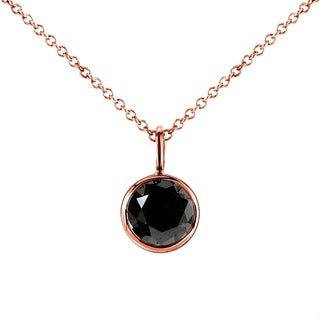 Annello by Kobelli 14k Rose Gold 1ct Round Black Diamond Solitaire Bezel Pendant and Detachable Chai