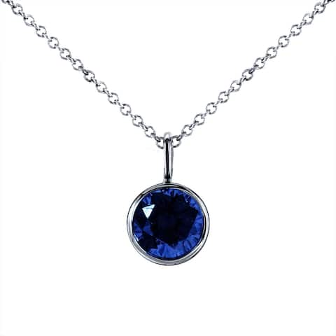 Annello by Kobelli 14k White Gold 6.5mm Round Blue Sapphire Solitaire Bezel Pendant and Detachable Chain