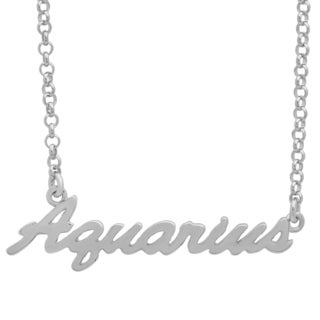 Sterling Essentials Silver Adjustable Zodiac Script Necklace ( 16 inch plus 1 inch extension)