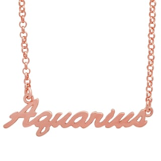 Sterling Essentials Rose Gold Plated Silver Adjustable Zodiac Script Necklace ( 16 inch plus 1 inch extension)