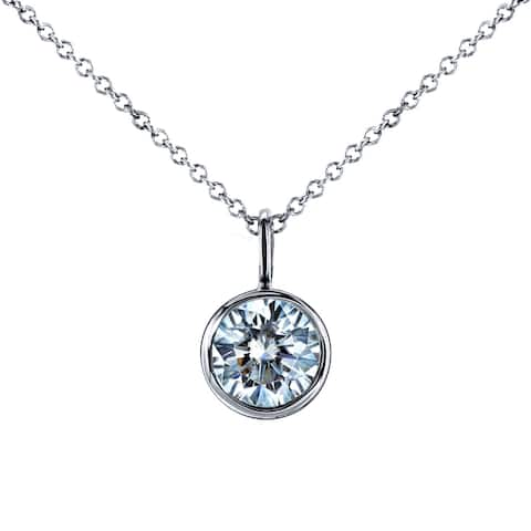 Annello by Kobelli 14k White Gold 1 Carat Round Brilliant Moissanite Solitaire Bezel Pendant and Chain