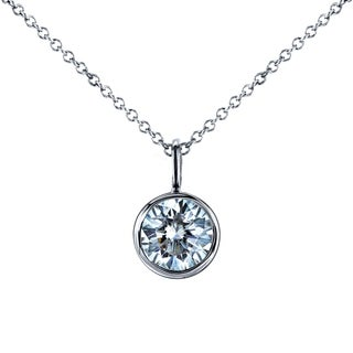 Annello 14k White Gold 1ct Round Moissanite Bezel Pendant and Detachable Chain