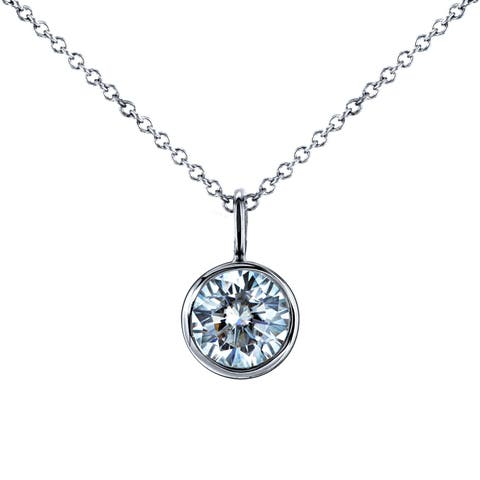 Annello by Kobelli 14k White Gold 1ct Solitaire Round Moissanite Bezel Pendant and Cable Chain