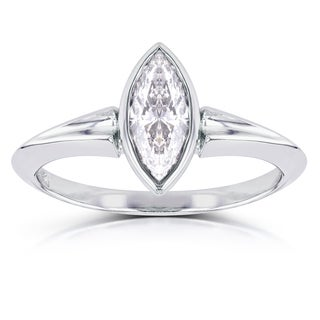 Annello by Kobelli 14k White Gold 1 1/10ct Marquise Diamond Bezel Solitaire Ring