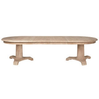 Brittany Beige Acacia Wood Oval Extension Dining Table