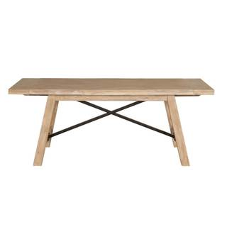 Gray Manor Chester Distressed Beige Wood and Iron Extension Dining Table