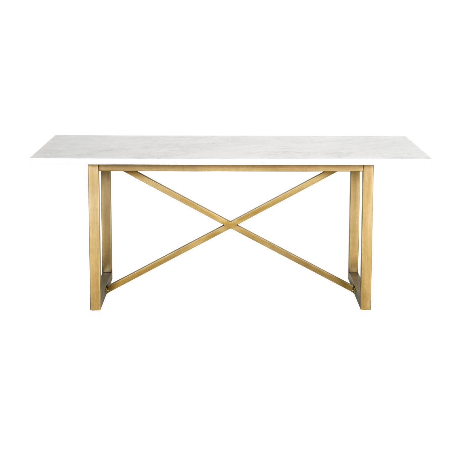 Gray Manor Autumn White Marble Dining Table