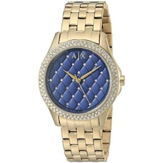 Armani Exchange Women's AX5247 'Hampton' Quilted Crystal Gold-Tone Stainless Steel Watch