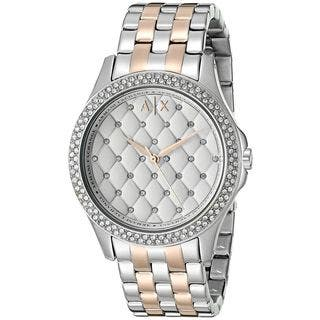 Armani Exchange Women's AX5249 'Hampton' Quilted Crystal Two-Tone Stainless Steel Watch|https://ak1.ostkcdn.com/images/products/11964625/P18849463.jpg?impolicy=medium