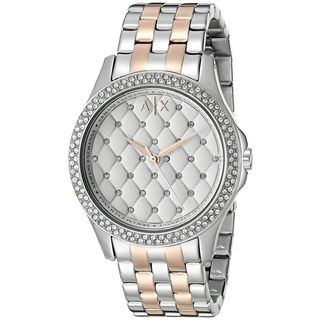 Armani Exchange Women's 'Hampton' Quilted Crystal Two-Tone Stainless Steel Watch