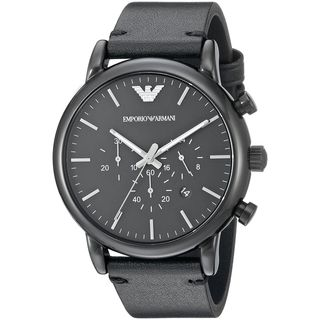 Emporio Armani Men's AR1918 'Dress' Chronograph Black Leather Watch