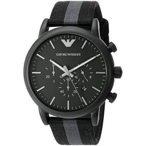Emporio Armani Men's AR1948 'Dress' Chronograph Grey and Black Nylon Watch