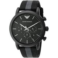Emporio Armani Men's  'Dress' Chronograph Grey and Black Nylon Watch