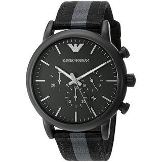 Emporio Armani Men's 'Dress' Chronograph Grey and Black Nylon Watch