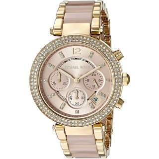 Michael Kors MK6326 Rosetone Gold Dial Two-tone Bracelet Women's Parker Chronograph Watch