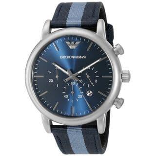 Emporio Armani Men's AR1949 'Dress' Chronograph Blue Nylon Watch|https://ak1.ostkcdn.com/images/products/11964655/P18849479.jpg?impolicy=medium