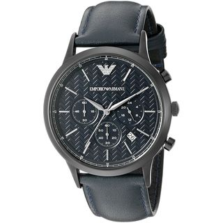 Emporio Armani Men's AR2481 'Dress' Chronograph Blue Leather Watch