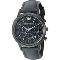 Emporio Armani Men's  'Dress' Chronograph Blue Leather Watch
