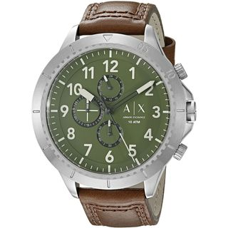 Armani Exchange Men's AX1758 'Aeroracer' Chronograph Brown Leather Watch