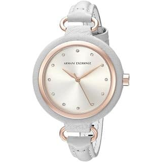 Armani Exchange Women's AX4235 'Madeline' Crystal Grey Leather Watch|https://ak1.ostkcdn.com/images/products/11964686/P18849507.jpg?impolicy=medium