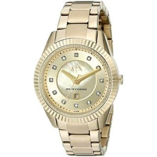 Armani Exchange Women's AX5431 'Dylann' Crystal Gold-tone Stainless Steel Watch https://ak1.ostkcdn.com/images/products/11964693/P18849514.jpg?impolicy=medium