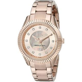 Armani Exchange Women's AX5432 'Dylann' Crystal Rose-Tone Stainless Steel Watch|https://ak1.ostkcdn.com/images/products/11964694/P18849515.jpg?impolicy=medium