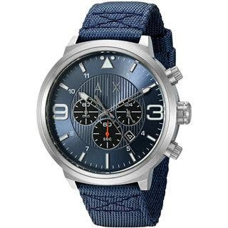 Armani Exchange Men's AX1373 'Street' Chronograph Blue Nylon Watch|https://ak1.ostkcdn.com/images/products/11964718/P18849536.jpg?impolicy=medium