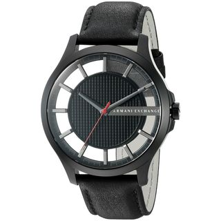 Armani Exchange Men's AX2180 'Smart' Black Leather Watch